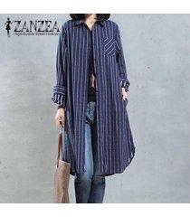 zanzea mujer otoño solapa cuello botones camisa larga blusa casual bordado retro algodón lino vestido suelto top s-5xl azul -azul