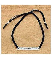 sterling silver bar bracelet, 'love in black' (indonesia)