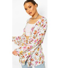 floral wide sleeve belted kimono, cream
