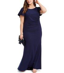 betsy & adam plus size flutter-sleeve scuba crepe gown