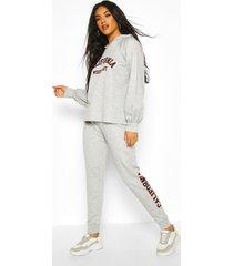 california slogan hoodie tracksuit, grey