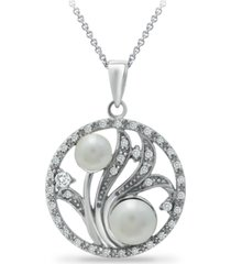 "6mm multi white imitation pearls and cubic zirconia floral medallion pendant on 18"" chain, crafted in fine silver plate"