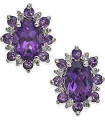 amethyst (1-1/5 ct t.w.) & diamond accent stud earrings in 14k gold