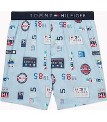 tommy hilfiger men's character print boxer sailing badges print on aquamarine - xl