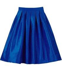 blue green a-line knee length ruffle skirt taffeta high waist pleated skirt nwt