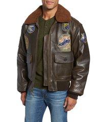 men's schott nyc genuine shearling collar g-1 flight jacket, size medium - brown