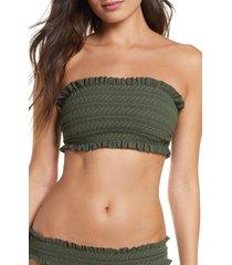 women's tory burch costa smocked bandeau bikini top, size x-small - green