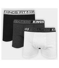 kit cueca boxer king c/ 3 peças