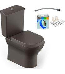 kit bacia com caixa acoplada e assento nexo café + conjunto de fixação flexível e anel de vedação - roca - roca