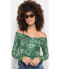 blusa colcci estampa floral manga longa feminina
