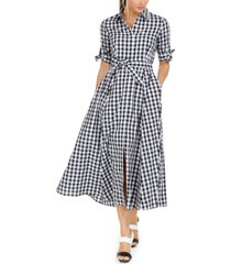 calvin klein cotton gingham midi dress
