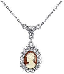 """downton abbey silver-tone oval cameo with crystal drop necklace 16"""" adjustable"""