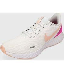 tenis running blanco-coral-rosa nike revolution 5,
