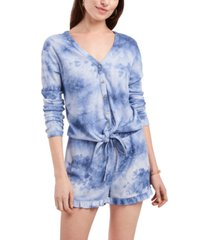 1.state tie-dyed tie-front top