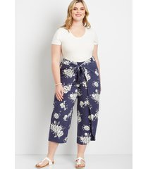 maurices plus size womens navy floral flyaway pants green