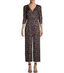 lia floral stretch-silk jumpsuit