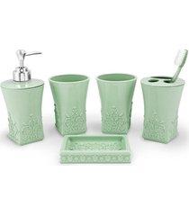 kit banheiro com 5 peças jacki design lifestyle verde