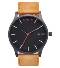 mvmt leather strap watch, 45mm in black at nordstrom