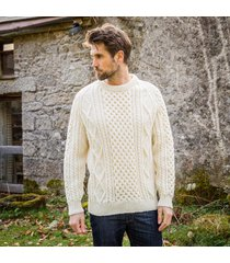 men's buncrana handknit aran sweater cream l