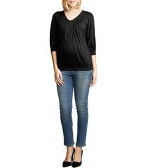 women's maternal america ruched dolman top, size small - black
