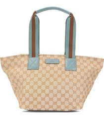 gucci pre-owned shelly line gg hand tote bag - brown