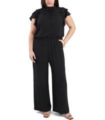 1.state plus size flutter-sleeve smocked-waist jumpsuit