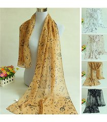 scialle in chiffon stampa note musicali