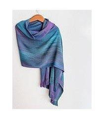 rayon chenille shawl, 'blue orchids' (guatemala)