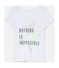 camiseta esportiva manga curta estampa nothing is impossible | get over | branco | m