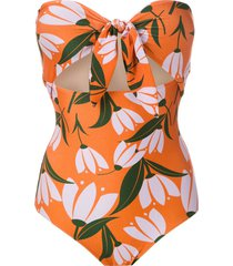 adriana degreas printed tie knot swimsuit - orange