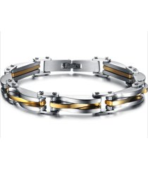 new arrivals two tone stainless steel men's link bracelet 8.66 inch