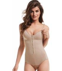 cinta mondress lingerie modeladora de amamentação ziper e abertura bege