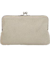whiting & davis mesh clutch - metallic