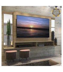 """painel tv 60"""" com suporte, espelho e nichos tókio multimóveis rustic"""