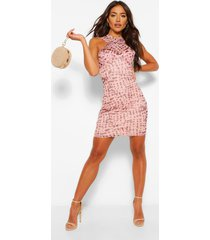 cross front mesh printed mini dress, nude