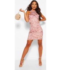 mesh mini jurk met gekruiste voorkant, nude