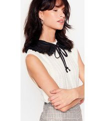 womens faux leather tie collar - black