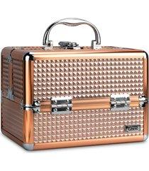 maleta de maquiagem cisne alumínio reforçada 4 bandejas dourada