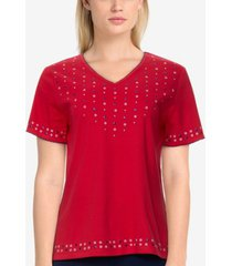 alfred dunner women's missy americana solid beaded top