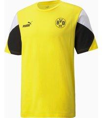 acm ftblculture voetbal-t-shirt voor heren, zwart/geel, maat xs | puma