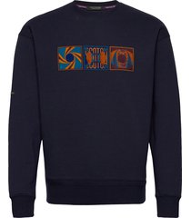 felpa crewneck sweat with colorful artwork sweat-shirt trui blauw scotch & soda