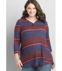 lane bryant women's 3/4 sleeve henley waffle mix tunic tee 26/28 small stripe