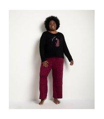 conjunto de pijama viscolycra animal print blusa manga longa e calça curve e plus size preto