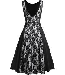 v shaped back sheer lace panel party dress