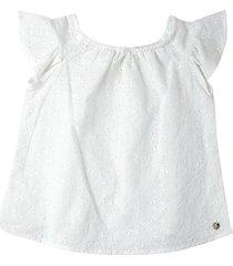 blusa blanca en ojalillo resortada en escote