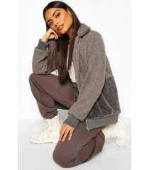 teddy faux fur bomber jacket, charcoal
