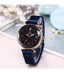 trendy starry sky orologio romano in acciaio inossidabile con magnete da donna orologio con numeri romani