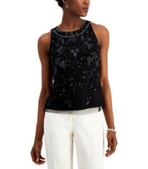 adrianna papell petite sleeveless sequin top