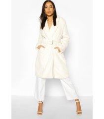 faux fur buckle belt longline coat, cream