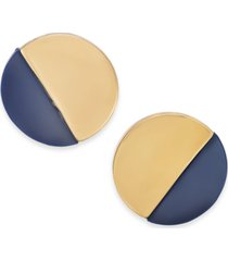 alfani gold-tone & black acrylic round button earrings, created for macy's